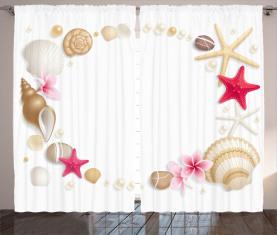 Seashells-Blumen-Stern Vorhang
