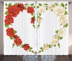 Herz-Blumenstrauß Romantisch Vorhang