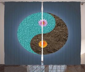 Yin Yang Blume Teal Brown Vorhang