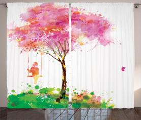Frühling blühender Baum Vorhang