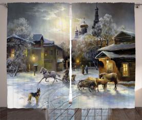 Winter Ländliche Landschaft Vorhang