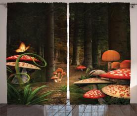 Pilze Dunkler Wald Vorhang