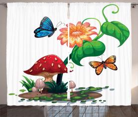 Blumen Schmetterlinge Vorhang