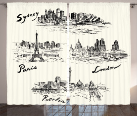 Berühmte Städte der Welt Vorhang