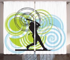 Baseball-Spieler-Kreise Vorhang