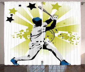Pitcher schlägt den Ball Vorhang