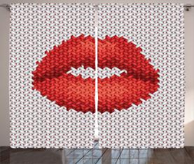 Stickerei-Effekt Lippen Vorhang