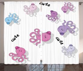 Niedliche Cartoon-Kraken-Kunst Vorhang