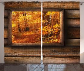Aussicht vom rustikalen Cottage Vorhang