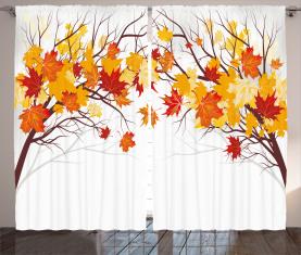 Cartoon Ahorn Herbst Baum Vorhang