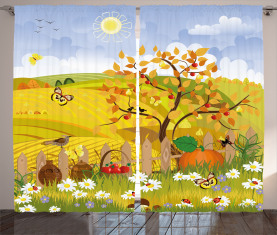 Nette Herbst-Garten-Gänseblümchen Vorhang
