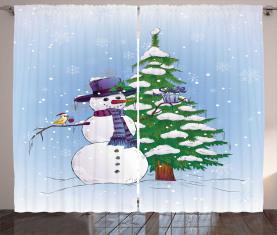 Schneemann und Baum Vorhang
