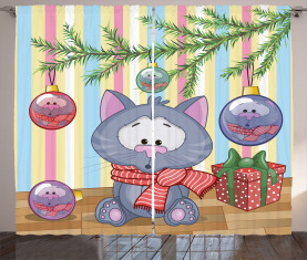 Kätzchen Geschenk und Baum Vorhang