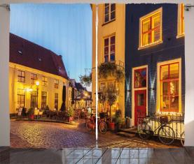 Holländische Straße mit Häusern Vorhang