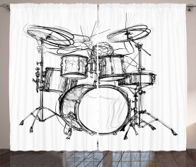 Schlagzeuger-Gekritzel-Kunst Vorhang
