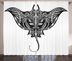 Cramp Fisch Stammes-Stil Vorhang