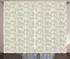 Curled Leaf Pattern Nature Curtain
