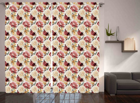 Aquarell Rosen Pfingstrosen Vorhang