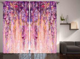 Aquarell Glyzinienblüten Vorhang