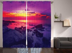 Sonnenuntergang über dem Meer bewölkt Vorhang