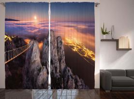 Vollmond Sonnenuntergang Alpen Vorhang