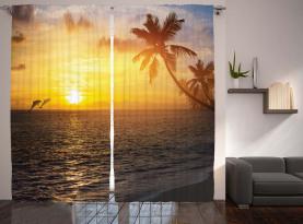 Palme-Insel-Sonnenuntergang Vorhang
