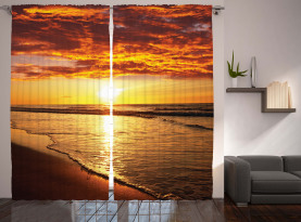 Strand Sonnenuntergang Küste Vorhang