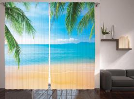 Exotischer Lagunen-Sand-Ozean Vorhang