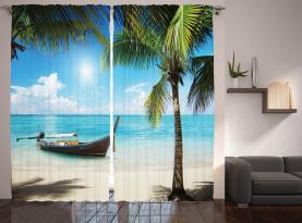 Kleines Boot Sunny Ocean Vorhang