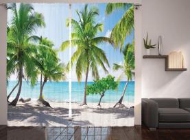 Palmen-Insel-Ufer Vorhang
