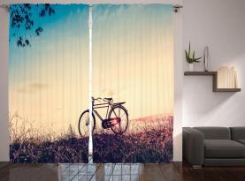 Sonnenuntergang Fahrrad Pastell Vorhang