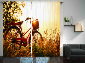 Fahrrad in den Sepia-Ton ländlichen Vorhang