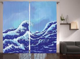 Große Tsunami-Ozean-Natur Vorhang