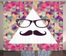 Hipster Schnurrbart Brille Vorhang