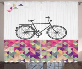 Fahrrad über Farbmosaik Vorhang