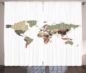 Typografische Länder Vorhang