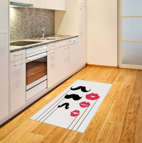 Mustache and Lips Motifs Area Rug