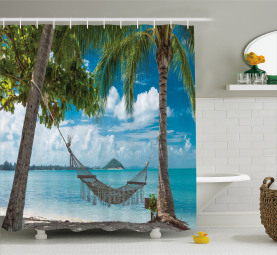 Palm Trees Hammock Holiday Shower Curtain