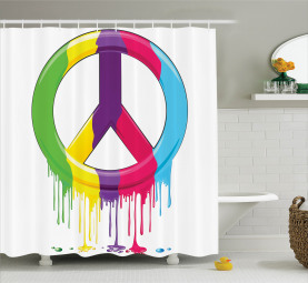 Friedens-Motto-Symbol Duschvorhang