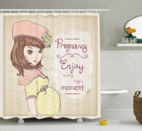 Schwangerschaft Motto Slogan Duschvorhang