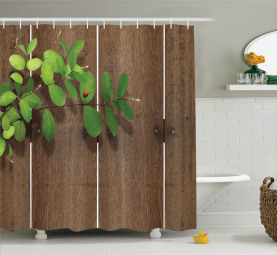 Green Leaves Wooden Planks Shower Curtain