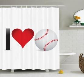 Ich liebe Baseball-Herz Duschvorhang