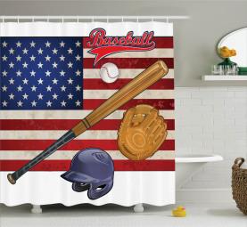 USA Flagge und Baseball Duschvorhang
