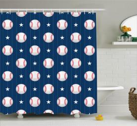 Baseball Artsy Streifen Duschvorhang
