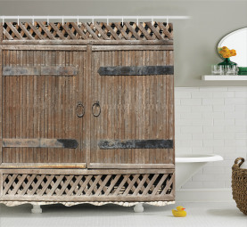 Old Wooden Gate with Handle Shower Curtain
