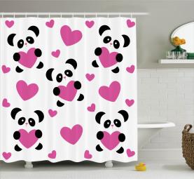 Liebe Pandas Herzen Duschvorhang