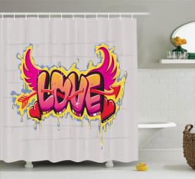 Liebes-Zitat auf Ziegelstein Duschvorhang