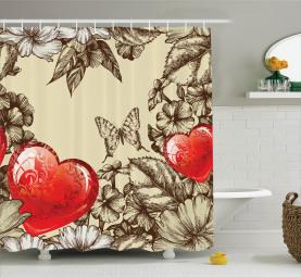 Blumen und Schmetterling Duschvorhang