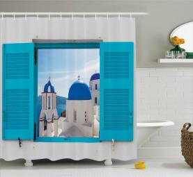 Griechenland Oia-Gebäude Duschvorhang