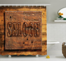 Wooden Carving Style Saloon Shower Curtain